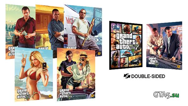 Плакаты GTA V с героями игры