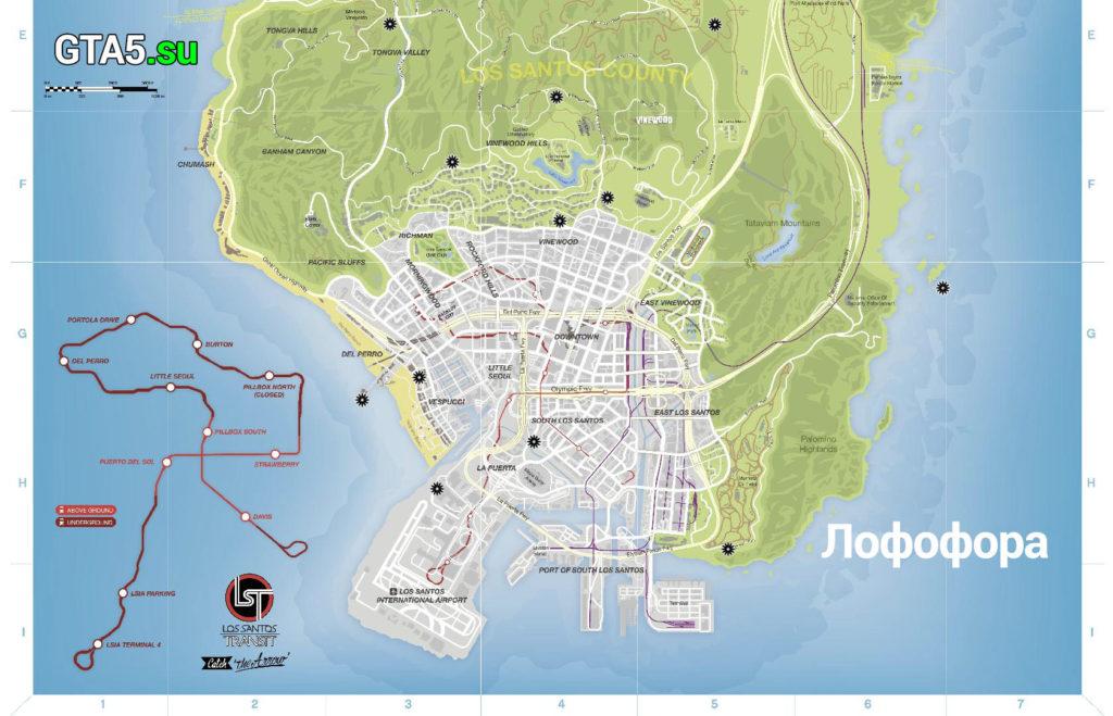 Нижняя часть карты