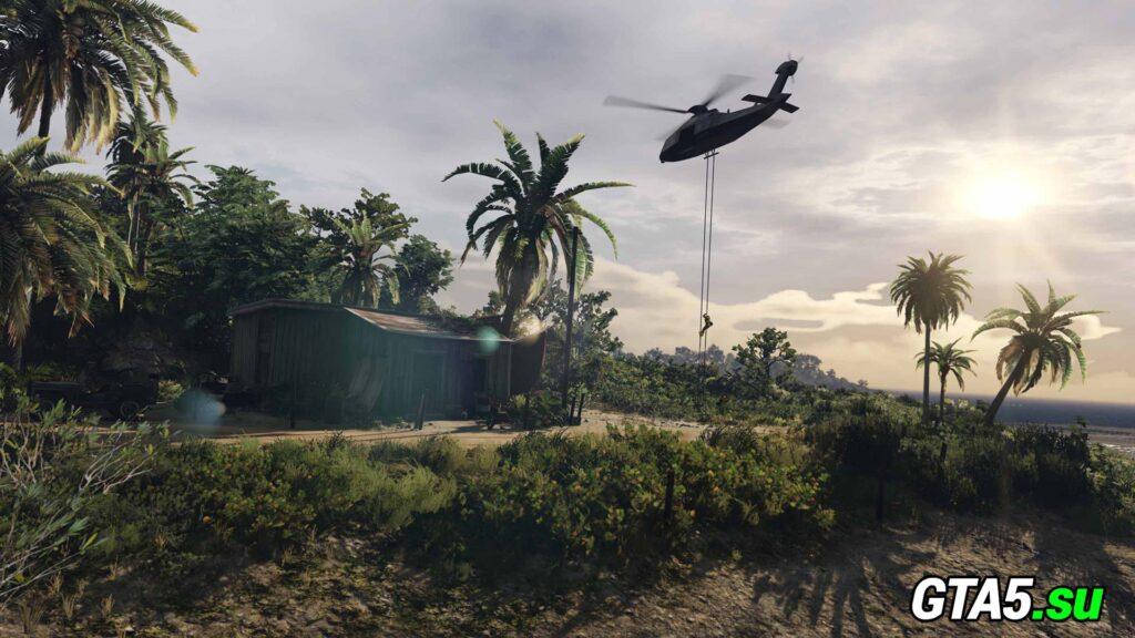 Вертолёт на острове