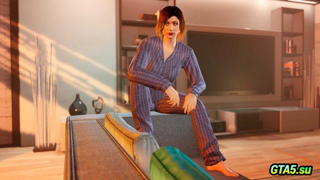 Синяя пижама в полоску